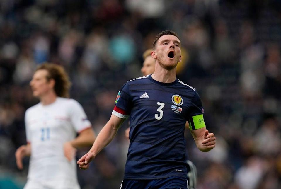 Andy Robertson of Scotland reacts at Hampden Park (Getty)