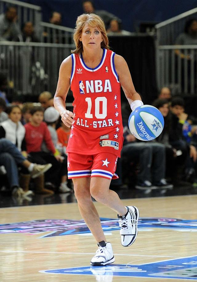 DALLAS - FEBRUARY 12: Basketball hall of famer Nancy Lieberman plays on the court during the NBA All-Star celebrity game presented by Final Fantasy XIII held at the Dallas Convention Center on February 12, 2010 in Dallas, Texas. (Photo by Jason Merritt/Getty Images)