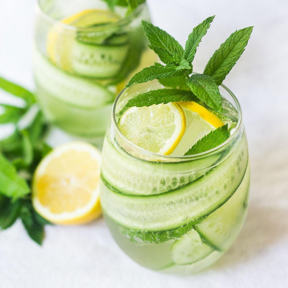 "<p>Cucumbers and mint pair delightfully in this refreshing spritzer that's perfect for a summer afternoon on the porch. <a href=""http://www.eatingwell.com/recipe/266211/cucumber-mint-spritzer/"" rel=""nofollow noopener"" target=""_blank"" data-ylk=""slk:View recipe"" class=""link rapid-noclick-resp""> View recipe </a></p>"