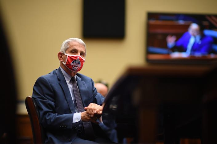 Anthony Fauci, director of the National Institute for Allergy and Infectious Diseases, testifies during a House Subcommittee on the coronavirus on Capitol Hill in Washington, D.C., on July 31, 2020. (Photo by KEVIN DIETSCH / various sources / AFP)