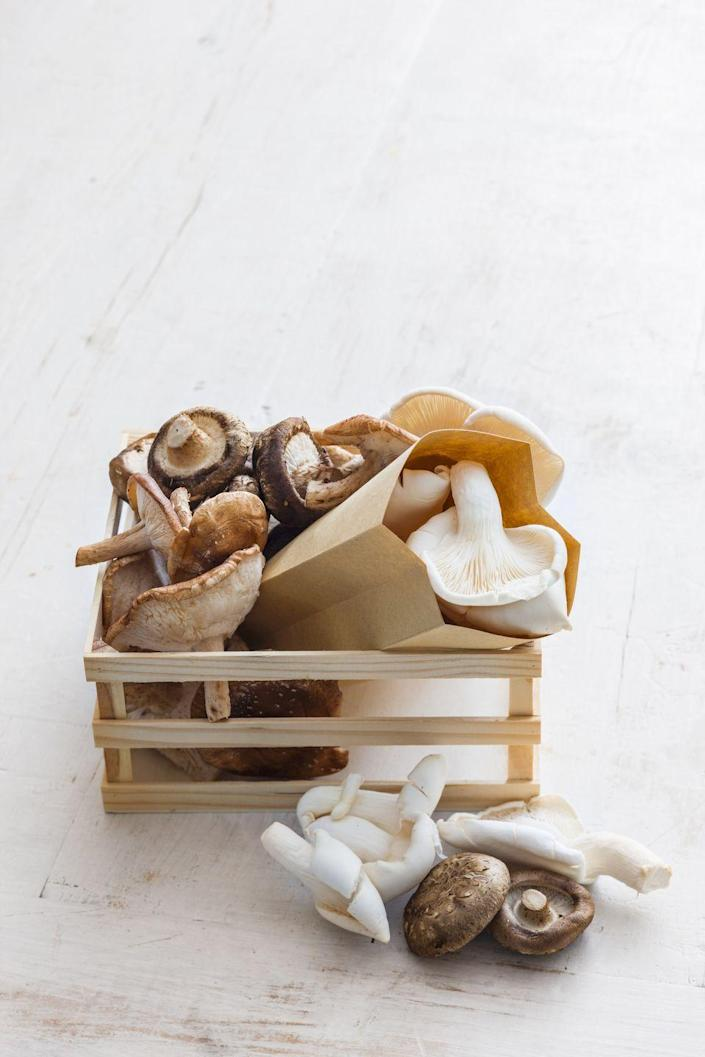 """<p><a href=""""https://www.prevention.com/food-nutrition/a20505222/mushroom-recipes-and-nutrition/"""" rel=""""nofollow noopener"""" target=""""_blank"""" data-ylk=""""slk:Mushrooms"""" class=""""link rapid-noclick-resp"""">Mushrooms</a> surely hit the mark when it comes to that satisfying umami flavor, but they're also good for your waistline. In fact, one <a href=""""https://www.sciencedirect.com/science/article/abs/pii/S0195666317305998?via%3Dihub"""" rel=""""nofollow noopener"""" target=""""_blank"""" data-ylk=""""slk:study"""" class=""""link rapid-noclick-resp"""">study</a> found that people who ate a breakfast that contained mushrooms felt fuller for longer than those who had meat with their breakfast. That's great news if you're trying to go more plant-forward with your weight loss efforts.</p>"""