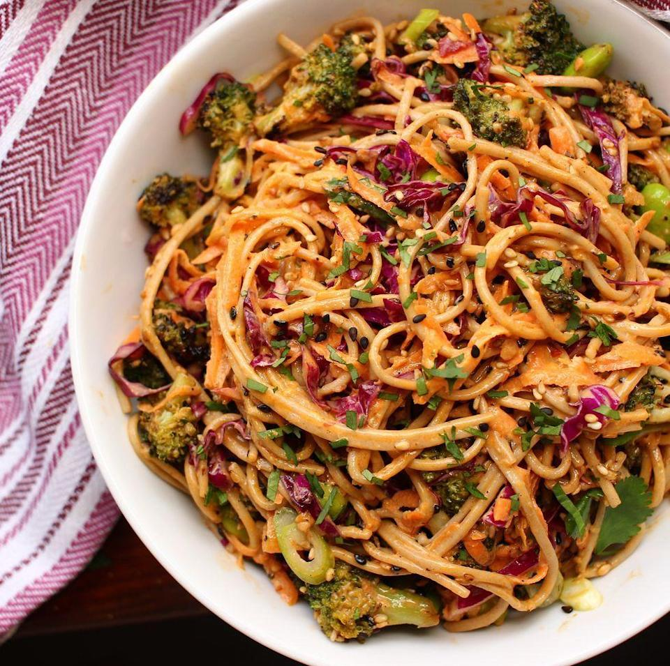 """<p>This noodle salad is dedicated to all you <a href=""""https://www.delish.com/uk/cooking/recipes/a30438961/chicken-pasta-salad/"""" rel=""""nofollow noopener"""" target=""""_blank"""" data-ylk=""""slk:pasta salad"""" class=""""link rapid-noclick-resp"""">pasta salad</a> fans out there. It's a colourful feast for the eyes, love at first sight and bite. With lots of options for substitutions, it's destined to be a favourite in your book of summer eats to revisit all year round.</p><p>Get the <a href=""""https://www.delish.com/uk/cooking/recipes/a35116245/noodle-salad-recipe/"""" rel=""""nofollow noopener"""" target=""""_blank"""" data-ylk=""""slk:Noodle Salad"""" class=""""link rapid-noclick-resp"""">Noodle Salad</a> recipe.</p>"""