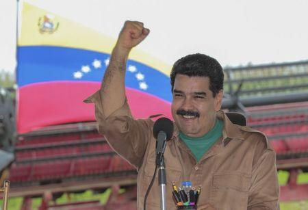 Venezuela's President Nicolas Maduro gestures in front of a national flag during his visit to a corn plantation in the state of Cojedes, in this handout picture provided by Miraflores Palace on August 12, 2015. REUTERS/Miraflores Palace/Handout via Reuters