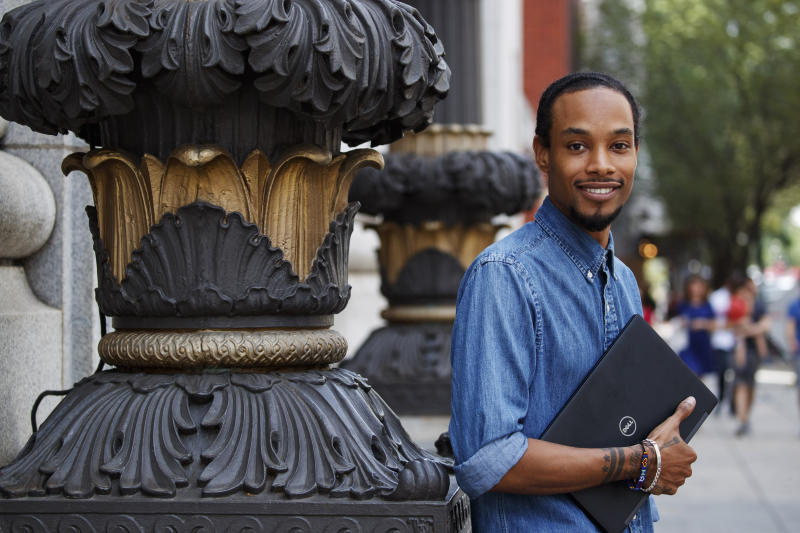 In Aug. 2, 2019, photo, Hadi Shakuur, CEO and founder of Muzbnb, a home-sharing site for Muslims, poses for a photograph in Washington. Alternative home-sharing sites, such as Muzbnb, have been cropping up as bigger companies like Airbnb, Booking.com and VRBO continue to face persistent problems of discrimination. (AP Photo/Alex Brandon)