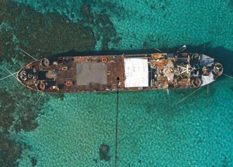 An aerial view of BRP Sierra Madre grounded at Second Thomas Shoal in the Spratly Islands
