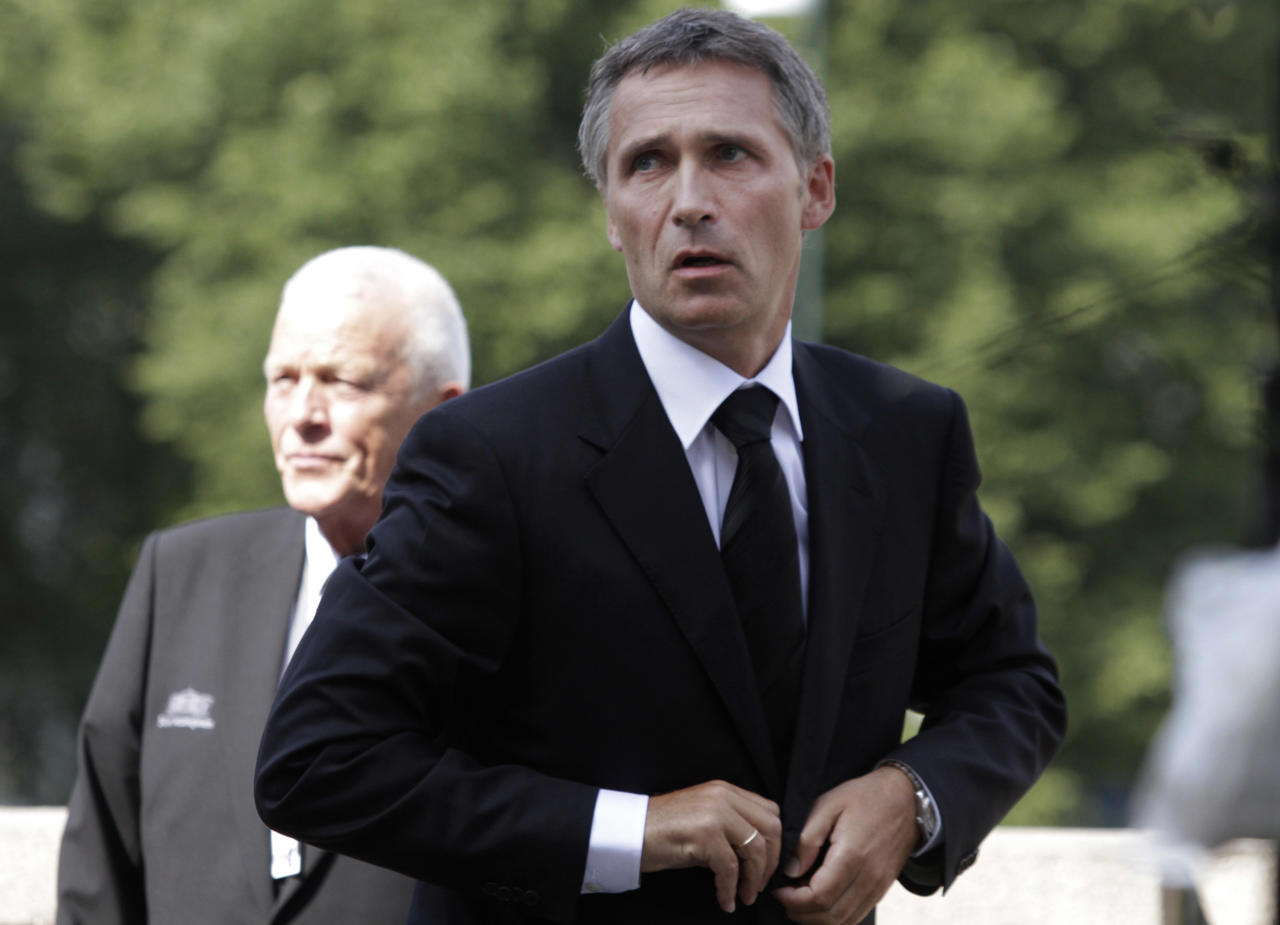 Norway's Prime Minister Jens Stoltenberg arrives for a memorial to honor the victims of the July 22 bombing and shooting massacre, at the parliament in Oslo, Monday, Aug. 1, 2011. Stoltenberg called on political leaders to show restraint in their discourse as the country emerges from mourning the 77 victims of a bombing and youth camp massacre. (AP Photo/Lefteris Pitarakis)