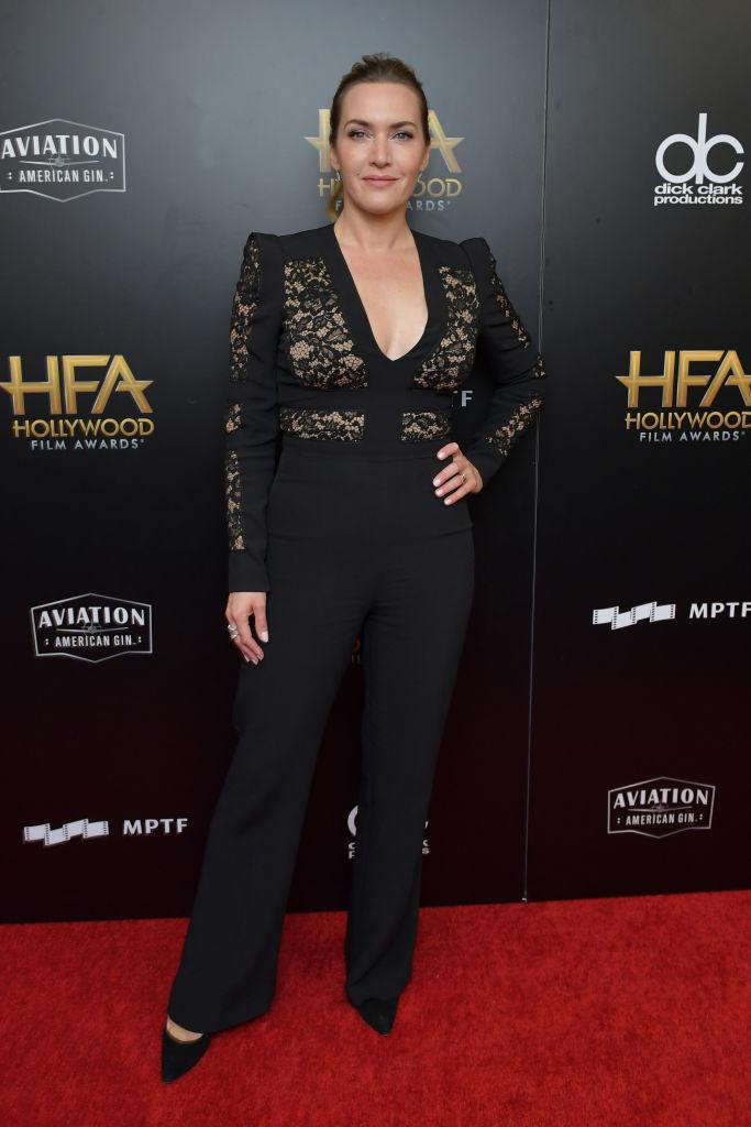 <p>Winslet struck a power pose in an Elie Saab jumpsuit featuring a lace bodice. (Photo: Getty Images) </p>