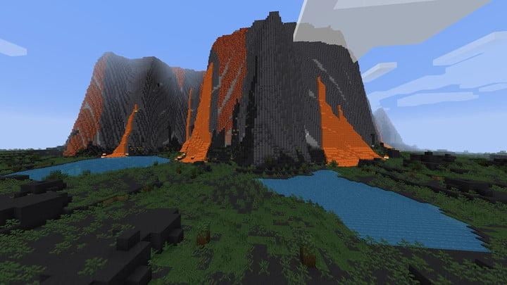 Screenshot of a giant blocky volcano in Minecraft.
