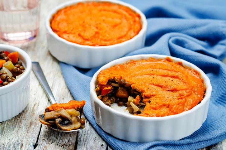 <p>This is another great entrée option that can be lightened up to balance all of the other, delicious, less-healthy options at your potluck. Ditch the regular potatoes for mashed sweet potato. Want to cut down the fat in your pie? Use ground turkey instead of beef. While the meal will be a definite potluck hit, you won't feel guilty dishing up a second helping. </p>
