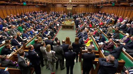 Britain's Prime Minister Theresa May addresses the House of Commons on her government's reaction to the poisoning of former Russian intelligence officer Sergei Skripal and his daughter Yulia in Salisbury, in London, March 14, 2018. Parliament TV handout via REUTERS