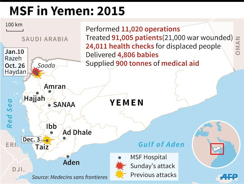 Map of Yemen locating Sunday's attack on an MSF clinic and two previous attacks. With facts about MSF's activies in Yemen. 90 x 68 mm (AFP Photo/Laurence Saubadu)
