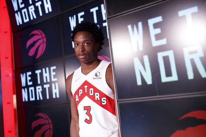 Toronto Raptors' OG Anunoby poses at Scotiabank Arena during the NBA basketball team's Media Day in Toronto, Monday, Sept. 27, 2021. (Cole Burston/The Canadian Press via AP)