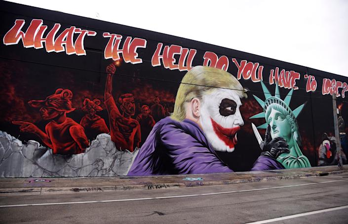 A Donald Trump mural covers a building in the Wynwood neighborhood of Miami, Florida, on October 27, 2016.