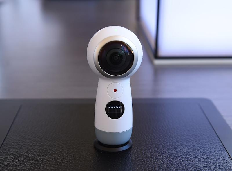 The new version of the Samsung Gear 360 camera is seen on display during a launch event for the Samsung Galaxy S8, in New York, on March 29, 2017 (AFP Photo/Timothy A. Clary)
