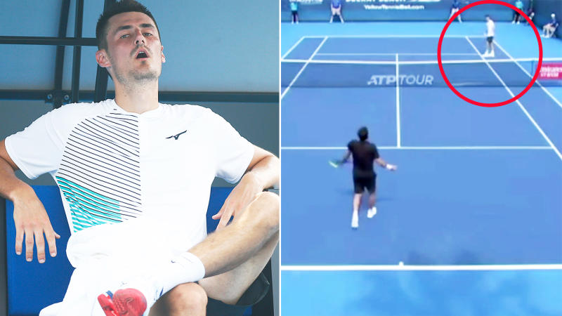 Bernard Tomic, pictured here conceding the point for no reason at the Delray Beach Open.