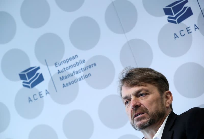 Michael Manley, CEO of FCA and president of ACEA, speaks during news conference in Brussels