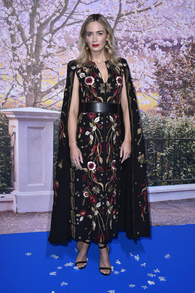 <p>Emily made us all want an embroidered dress when she stepped out in this caped number from Zuhair Murad's fall 2018 couture collection. <em>[Photo: Getty]</em> </p>