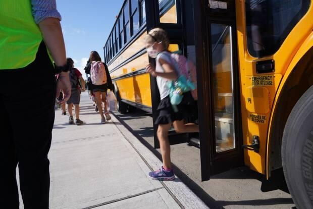Students from kindergarten to Grade 4/5 at Henry Janzen will move to remote learning on Tuesday. They will only be able to return to school on Monday, Oct. 4, if they are symptom-free, the school says. (Francis Ferland/CBC - image credit)