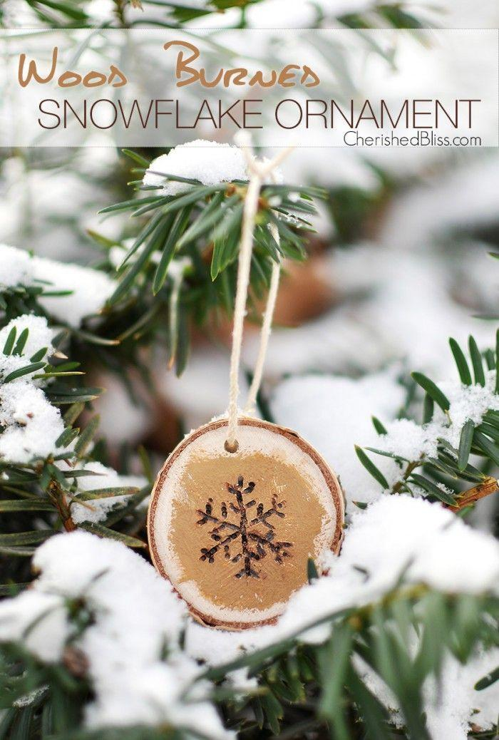 """<p>To create this rustic ornament, paint a wood slice gold, then use a wood burner to draw a pretty snowflake. </p><p><strong>Get the tutorial at <a href=""""http://cherishedbliss.com/wood-burned-snowflake-ornament/"""" rel=""""nofollow noopener"""" target=""""_blank"""" data-ylk=""""slk:Cherished Bliss"""" class=""""link rapid-noclick-resp"""">Cherished Bliss</a>.</strong></p><p><a class=""""link rapid-noclick-resp"""" href=""""https://www.amazon.com/Assorted-Decorations-Ornaments-Super-Outlet/dp/B01FRDI8EY/?tag=syn-yahoo-20&ascsubtag=%5Bartid%7C10050.g.1070%5Bsrc%7Cyahoo-us"""" rel=""""nofollow noopener"""" target=""""_blank"""" data-ylk=""""slk:SHOP WOOD SLICES"""">SHOP WOOD SLICES</a></p>"""