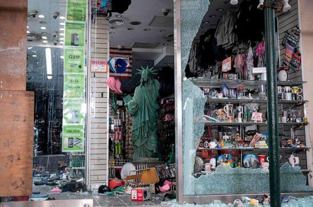 PHOTO: A looted souvenir shop is seen after a night of protest over the death of an African American man, George Floyd, in Minneapolis on June 2, 2020, in Manhattan in New York City. (Johannes Eisele/AFP via Getty Images)
