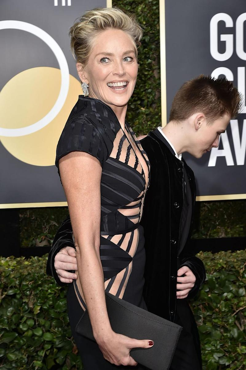 Sharon Stone turned heads in this XX gown at the 2018 Golden Globes. Source: Getty