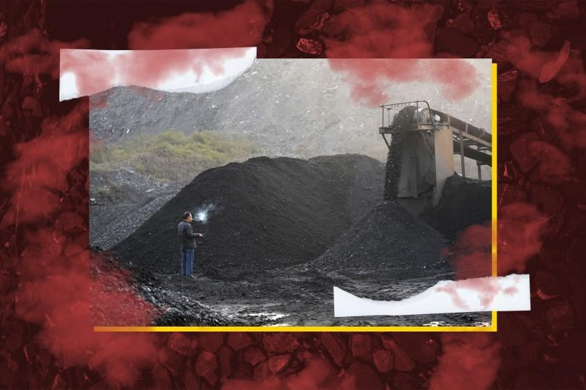 A border of red fog frames a photo of a worker standing next to machinery moving coal.