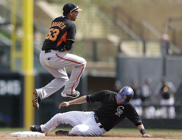 San Francisco Giants shortstop Ehire Adrianza, above, watches his throw to first to complete a double play as Colorado Rockies' Paul Janish, below, slides in late to second base during the third inning of an exhibition spring training baseball game Tuesday, March 4, 2014, in Scottsdale, Ariz. (AP Photo/Gregory Bull)