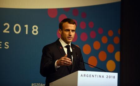 France's President Emmanuel Macron gives a news conference at the G20 leaders summit in Buenos Aires, Argentina December 1, 2018. G20 Argentina/Handout via REUTERS