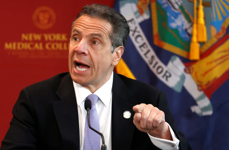 FILE PHOTO: New York Governor Andrew Cuomo holds daily briefing during outbreak of the coronavirus disease (COVID-19) in Valhalla