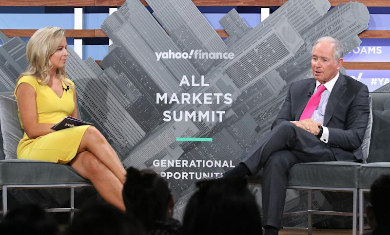 NEW YORK, NEW YORK - OCTOBER 10: Moderator Julia La Roche ad CEO of the Blackstone Group Stephen Schwarzman attend the Yahoo Finance All Markets Summit at Union West Events on October 10, 2019 in New York City. (Photo by Jim Spellman/Getty Images)