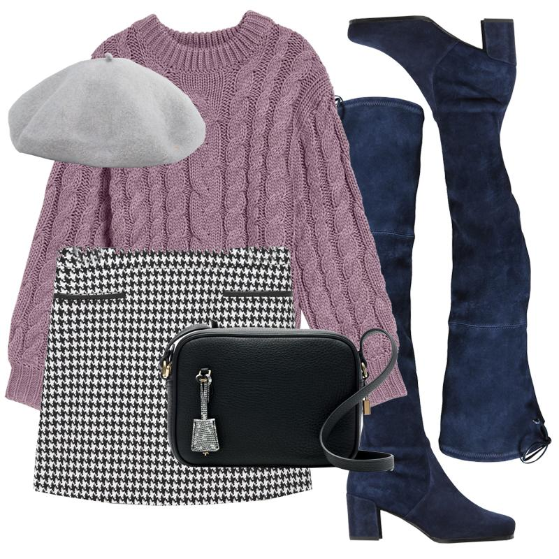 "<p><a rel=""nofollow"" rel=""nofollow"" href=""http://rstyle.me/n/b5i6k2jduw"">Thoughtful accessories elevate a mundane look into fashion-forward territory. Upgrade the sweater-and-skirt combo with navy blue suede over-the-knee boots and a cute beret.</a></p>"