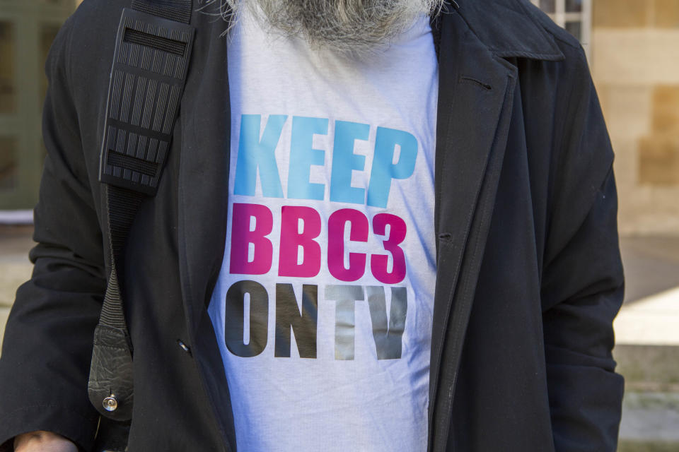Keep BBC3 on TV campaign t-shirt. Worn by a campaigner to save BBC Three outside BBC broadcasting house. Central London. 17th February 2015. (Photo by In Pictures Ltd./Corbis via Getty Images)