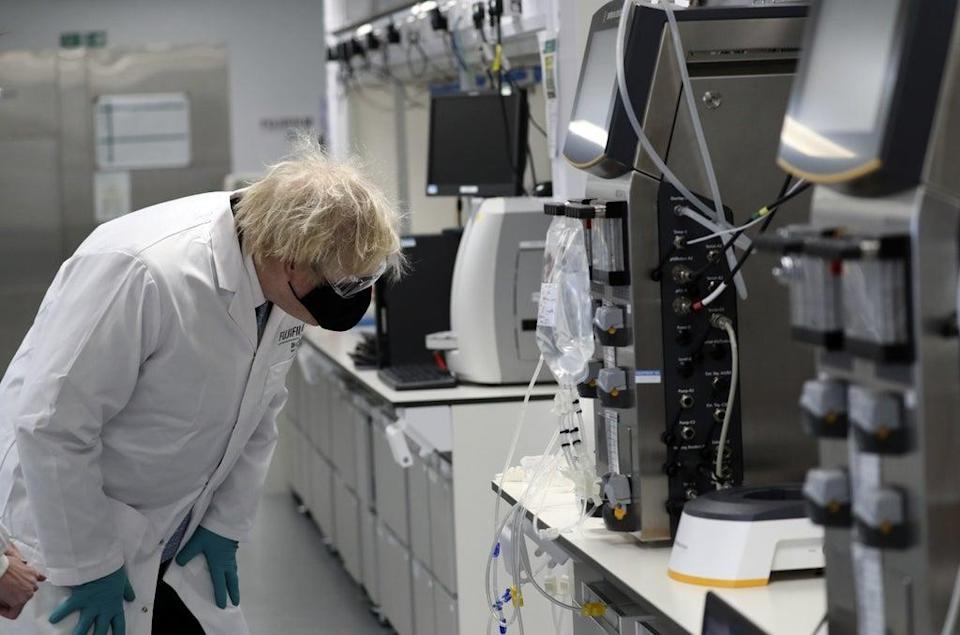Boris Johnson had visited a plant on Teesside where millions of doses of the Novavax vaccine were due to be made (PA) (PA Archive)