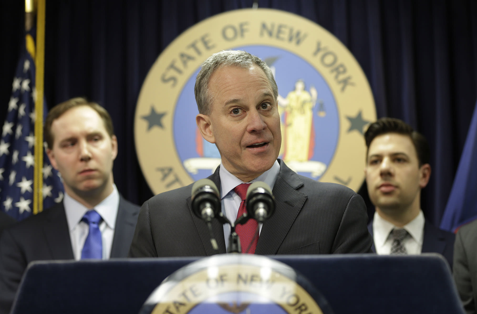 New York Attorney General Eric Schneiderman speaks at a new conference in New York, Monday, March 21, 2016. (Photo: Seth Wenig/AP)