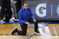 Duke head coach Mike Krzyzewski watches the action during the second half of an NCAA college basketball game against Louisville in the second round of the Atlantic Coast Conference tournament in Greensboro, N.C., Wednesday, March 10, 2021. (AP Photo/Gerry Broome)