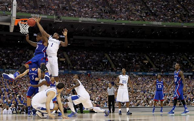 Thomas Robinson #0 of the Kansas Jayhawks goes up for a shot against Darius Miller #1 of the Kentucky Wildcats in the first half in the National Championship Game of the 2012 NCAA Division I Men's Basketball Tournament at the Mercedes-Benz Superdome on April 2, 2012 in New Orleans, Louisiana. (Photo by Ronald Martinez/Getty Images)