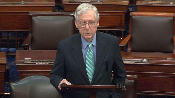 PHOTO: Senate Minority Leader Mitch McConnell speaks at the U.S. Capitol, Oct. 7, 2021 in Washington, D.C. Senate Democrats and Republicans are nearing a deal that will temporarily raise the debt ceiling through early December.  (ABC News)
