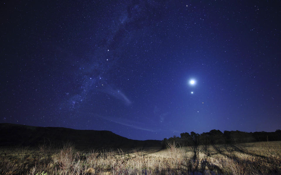 Mars, the Moon and Venus coming together in a previous conjunction, seen from Argentina. (Getty)
