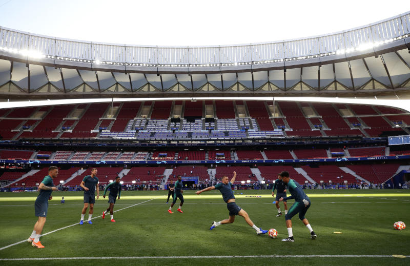 Tottenham's Eric Dier lunges for the ball during a training session at the Wanda Metropolitano stadium in Madrid, Friday May 31, 2019. English Premier League teams Liverpool and Tottenham Hotspur are preparing for the Champions League final which takes place in Madrid on Saturday night. (AP Photo/Manu Fernandez)