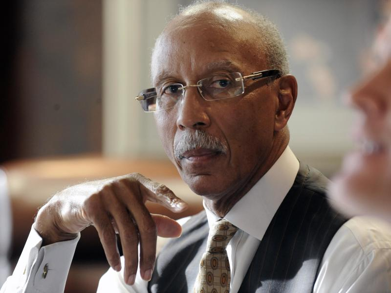 FILE - In this Jan. 5, 2012, file photo, Detroit Mayor Dave Bing speaks in Detroit. It's a critical time in Detroit as Mayor Bing prepares to lay out his plans and highlight accomplishments in his third State of the City address on Wednesday, March 7, 2012. (AP Photo/Detroit News, David Coates, File)  DETROIT FREE PRESS OUT; HUFFINGTON POST OUT
