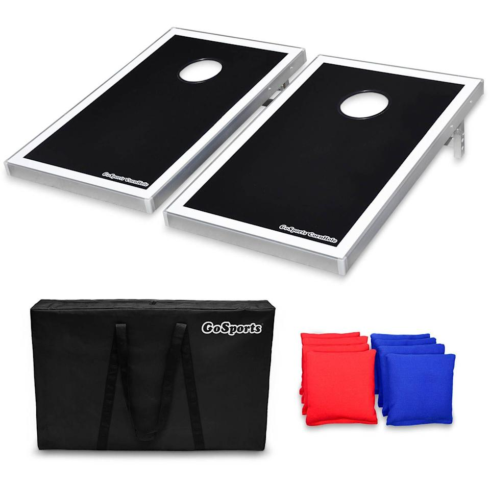 """<h3>The Lawn Game Dad</h3><p>While corn hole equals prime outdoor entertainment, there's no reason to let the cumbersome boards takeover your backyard space after the game ends. This aluminum version is not only foldable for easy storage, but it's also made of lightweight aluminum that's easy to carry and tuck away.</p><br><br><strong>GoSports</strong> Foldable Cornhole Boards, $80.99, available at <a href=""""https://www.walmart.com/ip/GoSports-Foldable-Cornhole-Boards-Bean-Bag-Toss-Game-Set-Superior-Aluminum-Frame-Black-Design-w-8-Bean-Bags-and-Portable-Carrying-Case/20847844?athcpid=20847844&athpgid=athenaItemPage&athcgid=null&athznid=PWVUB&athieid=v0&athstid=CS004&athguid=930df5d8-97a-16b1e3416855bf&athena=true"""" rel=""""nofollow noopener"""" target=""""_blank"""" data-ylk=""""slk:Walmart"""" class=""""link rapid-noclick-resp"""">Walmart</a>"""