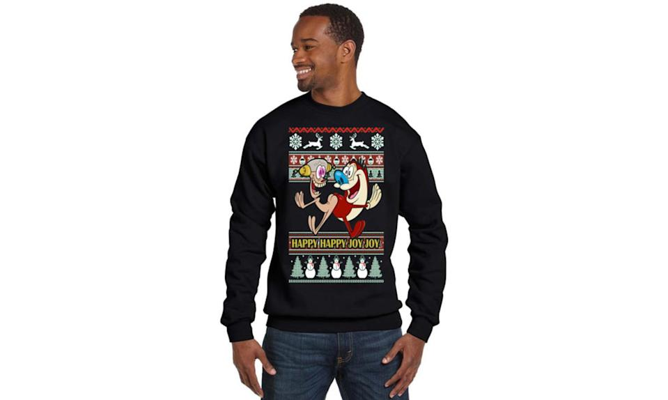"""<p>The fellas — Ren Höek and Stimpson J. Cat — starred in a holiday special that revolved around their search for a fart, which Stimpy thought he'd birthed. So, yeah, they're perfect for an ugly Christmas sweater. <strong><a rel=""""nofollow noopener"""" href=""""https://www.etsy.com/listing/495561109/ren-and-stimpy?ref=related-8"""" target=""""_blank"""" data-ylk=""""slk:Buy here"""" class=""""link rapid-noclick-resp"""">Buy here</a></strong> </p>"""