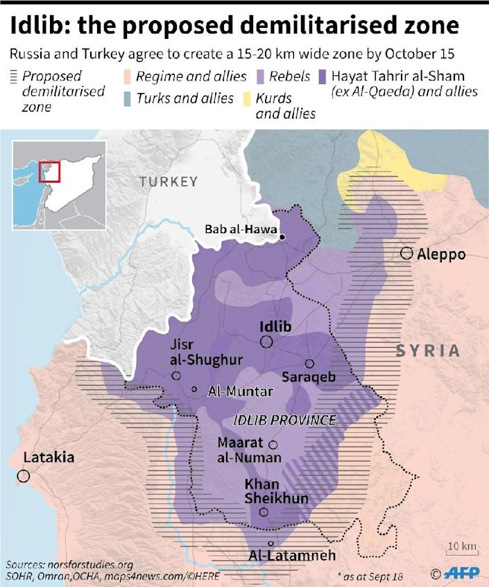 Map locating the proposed 15-20 km wide demilitarised zone in and around Syria's Idlib province (AFP Photo/Thomas SAINT-CRICQ)
