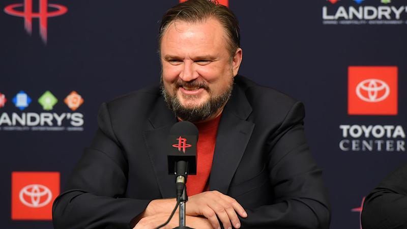 Houston Rockets General Manager Daryl Morey, pictured here speaking with the media.