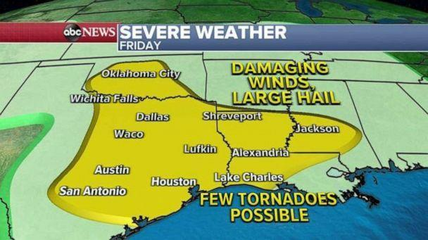 PHOTO: On Friday, severe weather with damaging winds, large hail and a few tornadoes will be possible for Oklahoma City, Dallas, Alexandria, Louisiana, and into Jackson, Mississippi.    (ABC News)