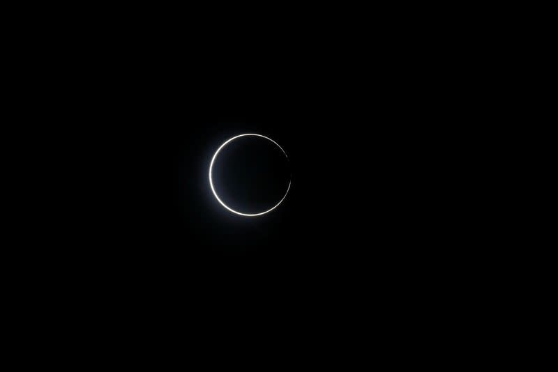 Ring of fire is seen during the solar eclipse at Budai township