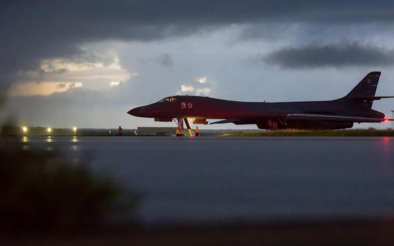 A US Air Force B-1B Lancer prepares to take off from Guam before flying in international airspace over waters east of North Korea - USA AIR FORCE