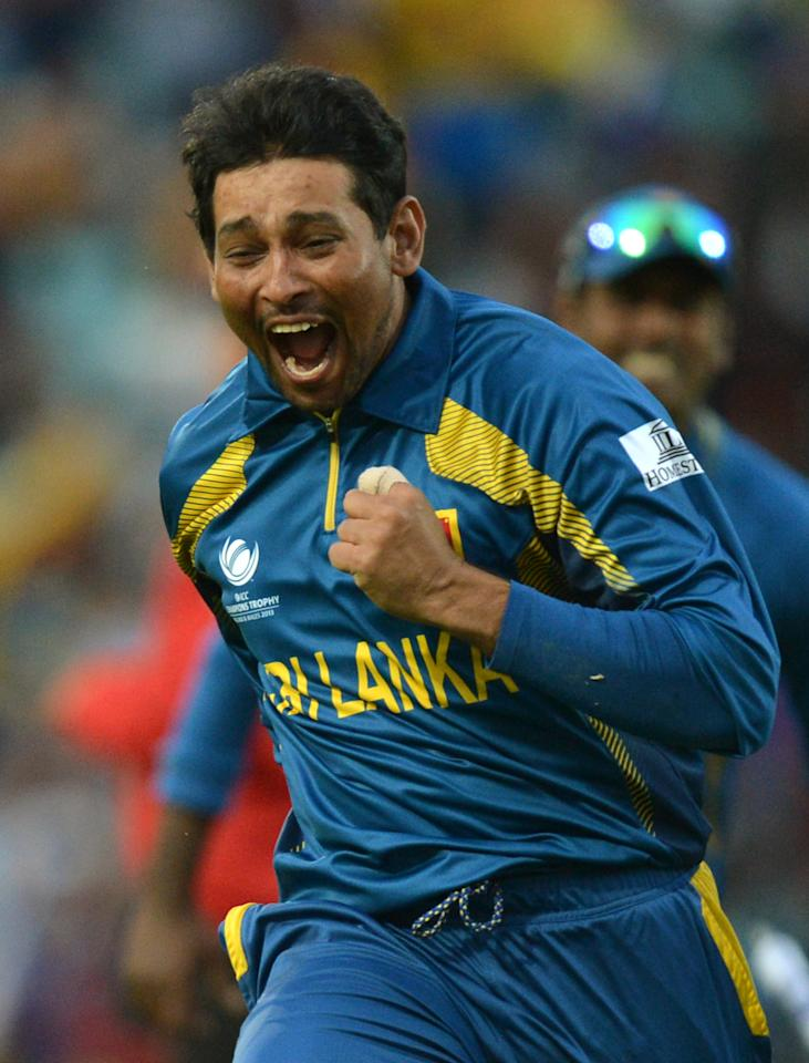 Sri Lanka's Tillakaratne Dilshan celebrates taking the final Australian wicket to win the game during the ICC Champions Trophy match at The Kia Oval, London.