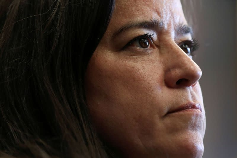 FILE PHOTO: Independent MP Jody Wilson-Raybould looks on during an news conference on Parliament Hill in Ottawa