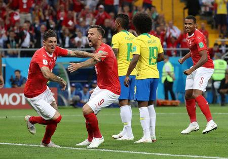 Soccer Football - World Cup - Group E - Brazil vs Switzerland - Rostov Arena, Rostov-on-Don, Russia - June 17, 2018 Switzerland's Steven Zuber celebrates with Haris Seferovic after scoring their first goal REUTERS/Marko Djurica